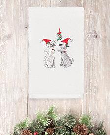 CLOSEOUT!  Linum Home Christmas Cute Couple 100% Turkish Cotton Hand Towel