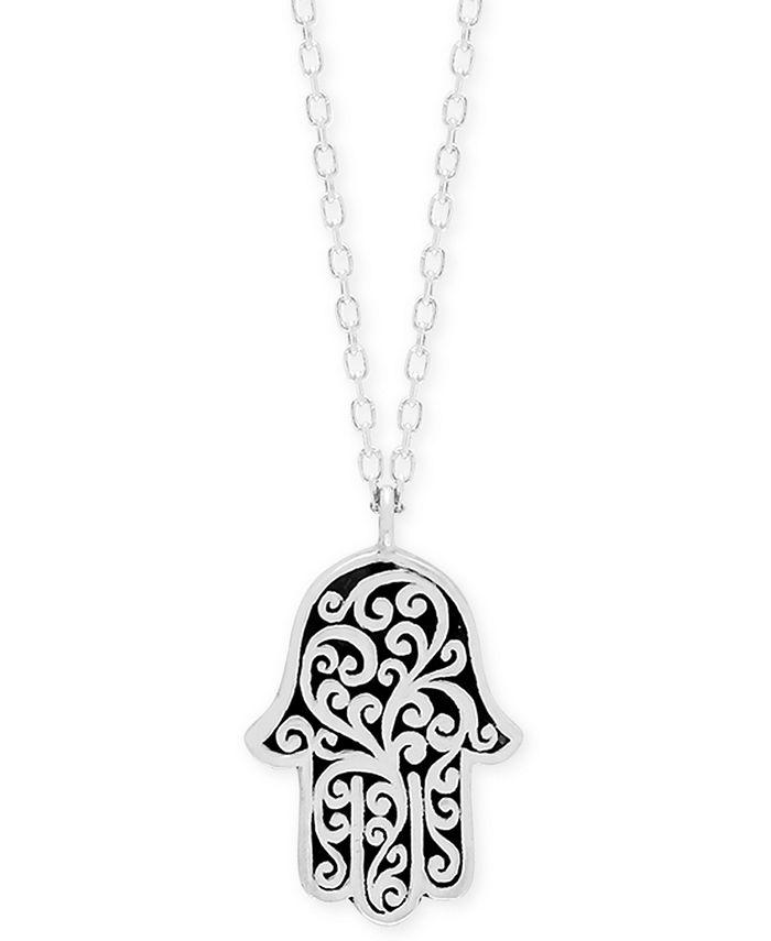 "Lois Hill - Decorative Scroll Hamsa Hand 18"" Pendant Necklace in Sterling Silver"