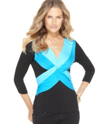 Cable & Gauge Top, Three Quarter Sleeve Colorblock Twist Front