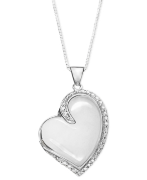 Sterling Silver Necklace, White Agate (15 mm) and White Topaz (1-1/2 ct. t.w) Heart Pendant