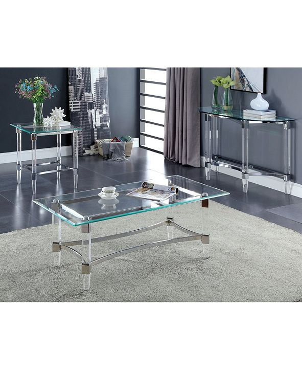 Furniture of America Jourdan Glass Top End Table