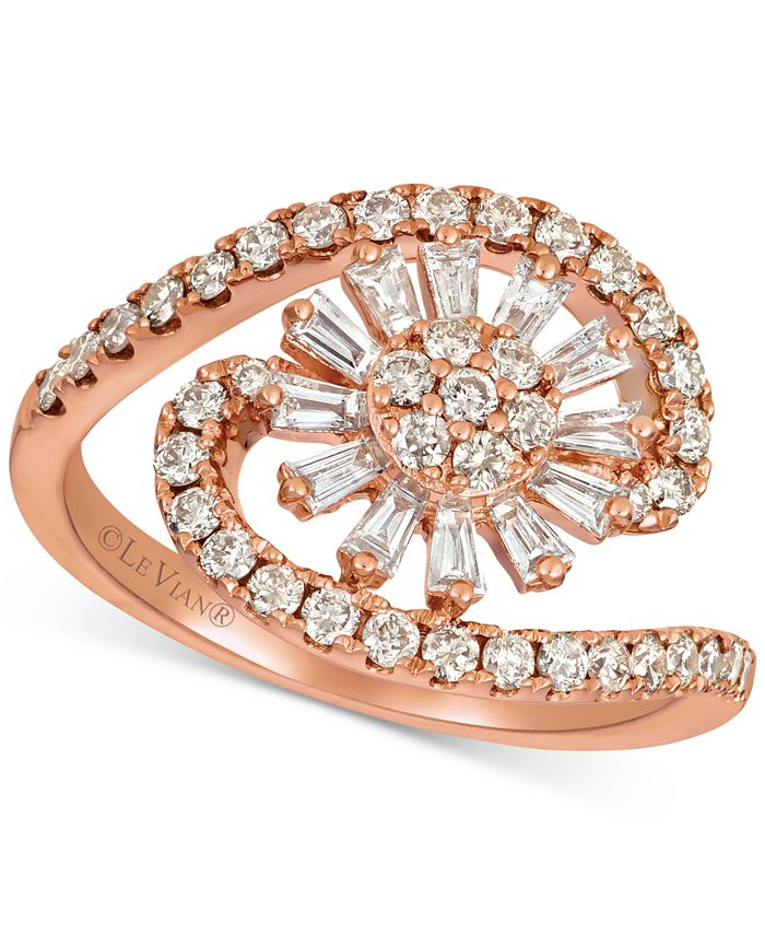 Le Vian - Baguette Frenzy™ Nude™ and Vanilla™ Diamond Flower Burst Swirl (9/10 ct. t.w.) Ring in 14k Rose Gold