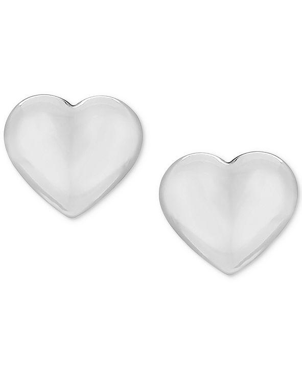 Macy's Children's Puff Heart Stud Earrings in 14k White Gold