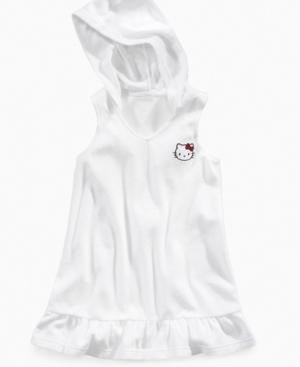 Hello Kitty Girls Cover Up, Girls or Little Girls Hooded Terry Dress