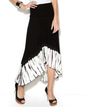 INC International Concepts Skirt, Convertible Maxi Tie Dye Print Strapless Dress