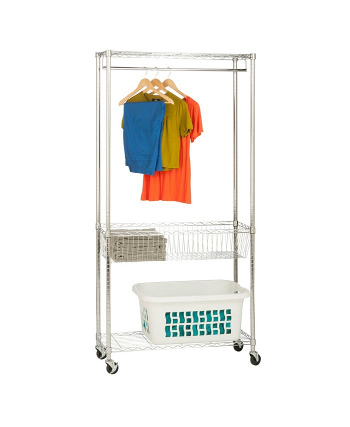 Honey Can Do - Rolling Laundry Station with Shelves