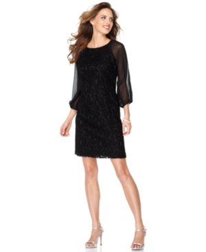 Adrianna Papell Dress, Three Quarter Illusion Sleeve Lace Shift