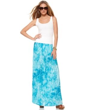 MICHAEL Michael Kors Skirt, Marble Printed Pleated A Line Maxi