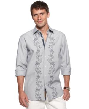 Cubavera Shirt, Embroidered Panel Front Shirt