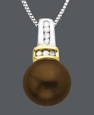 14k Gold and Sterling Silver Necklace, Chocolate Cultured Freshwater Pearl (8 mm) and Diamond Accent Pendant