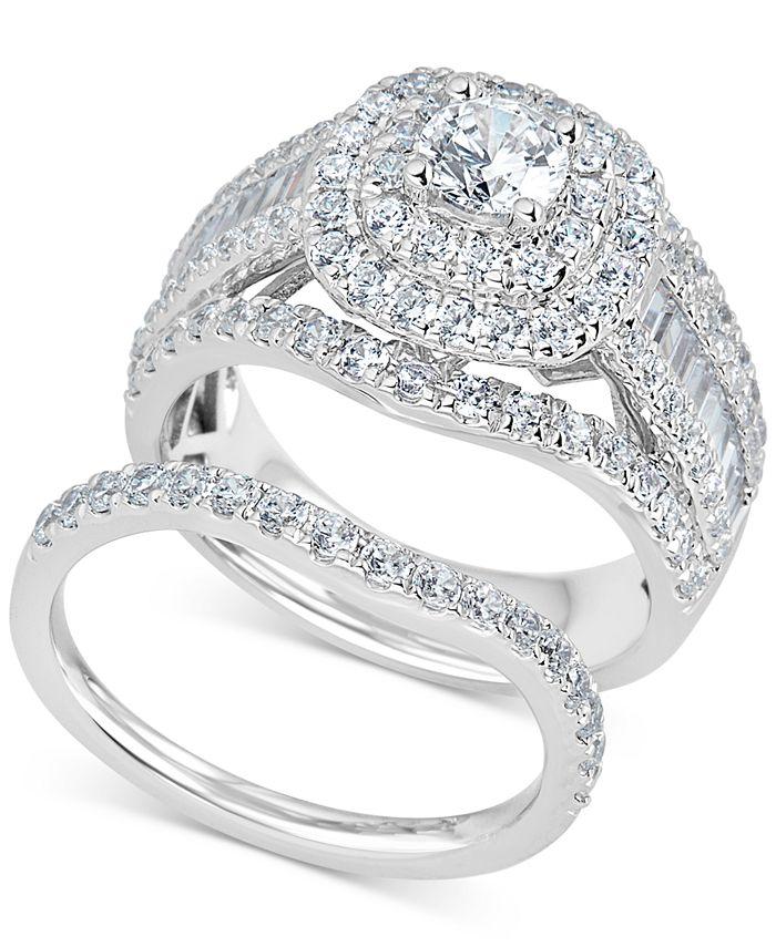 Macy's - Diamond Raised Halo Bridal Set (2-1/2 ct. t.w.) in 14k White Gold