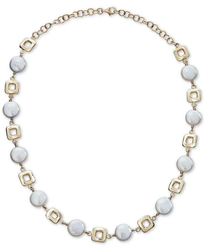 """Macy's - Cultured Coin Freshwater Pearl (10mm) Collar Necklace in 14k Gold, 14-1/2"""" + 2"""" extender"""