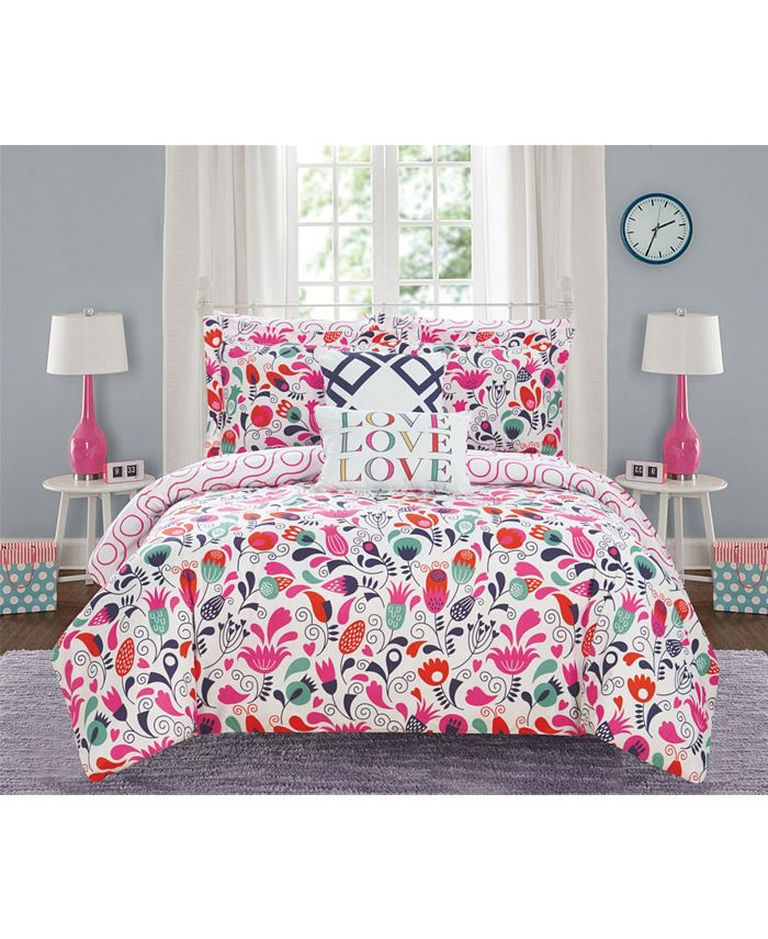 Chic Home - Tulip Garden 9-Pc. Bed In a Bag Comforter Sets