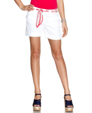 Be Bop Shorts, Belted Cuffed White Wash