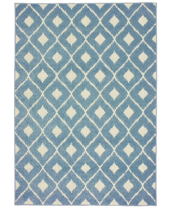 "Oriental Weavers Barbados 5502B Blue/Ivory 3'3"" x 5' Indoor/Outdoor Area Rug"