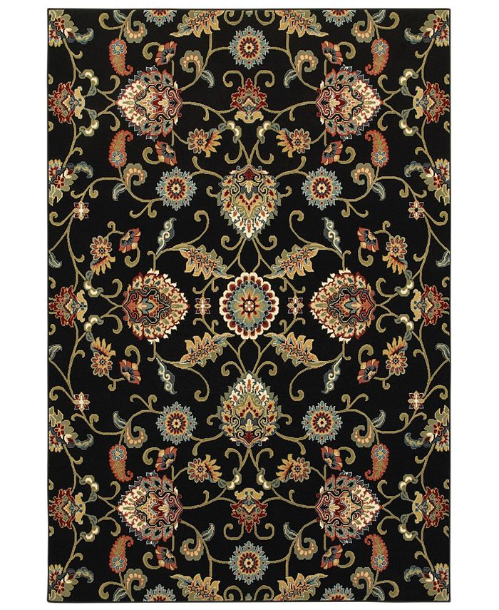 "Oriental Weavers - Kashan 9946K Black/Multi 3'10"" x 5'5"" Area Rug"