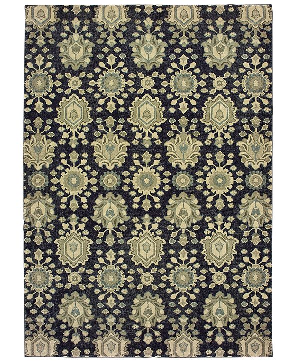 "Oriental Weavers Raleigh 533Q5 Navy/Ivory 6'7"" x 9'6"" Area Rug"