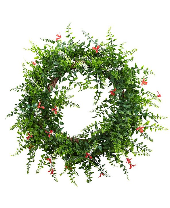 "Nearly Natural 18"" Floral and Fern Double Ring Wreath w/ Twig Base"