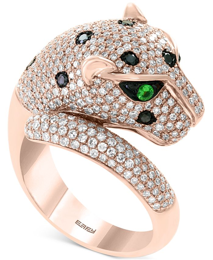 EFFY Collection - Diamond (1-1/2 ct. t.w.) & Tsavorite Accent Panther Ring in 14k Rose Gold
