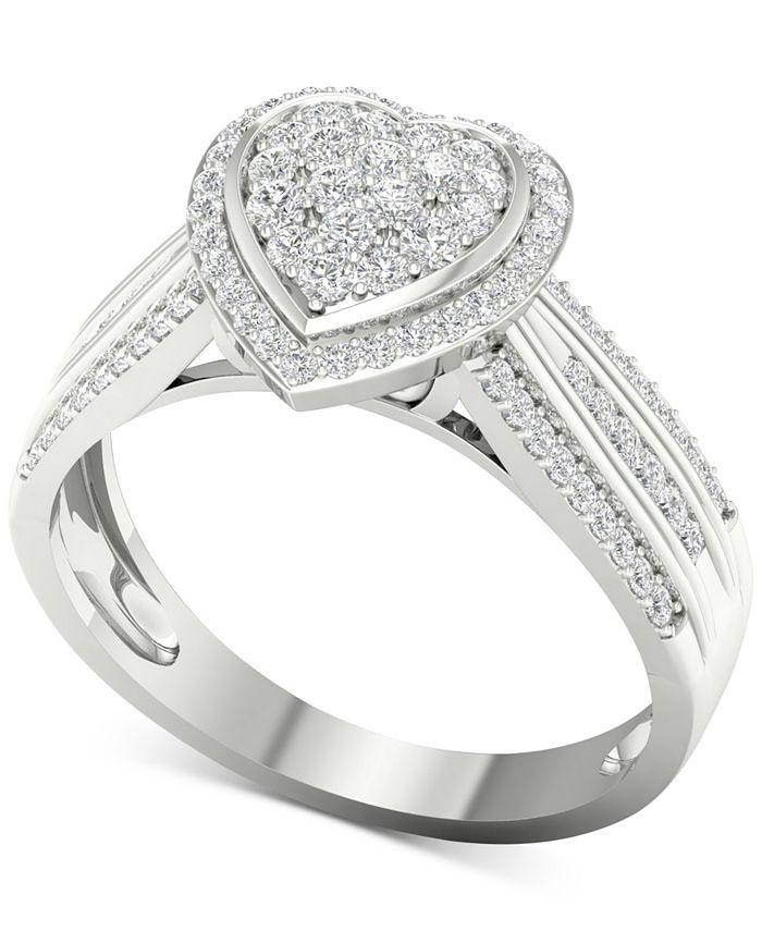 Macy's - Diamond Heart Ring (1/2 ct. t.w.) in Sterling Silver