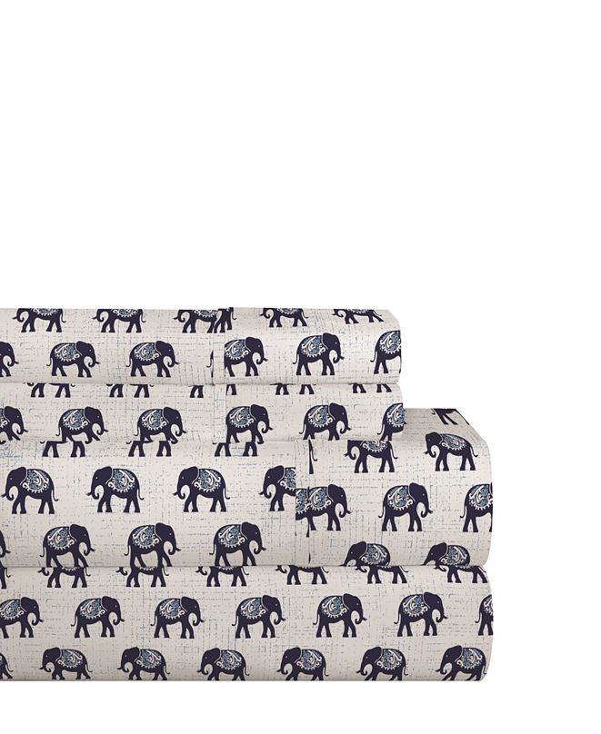 Pointehaven 200 Thread Count Cotton Percale Printed Sheet Set Full