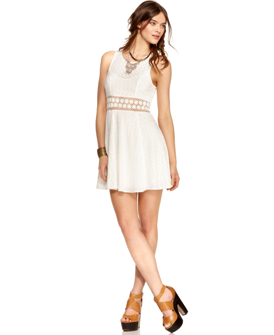 Free People Dress, Sleeveless Scoop Neck Lace Daisy Embroidered A Line