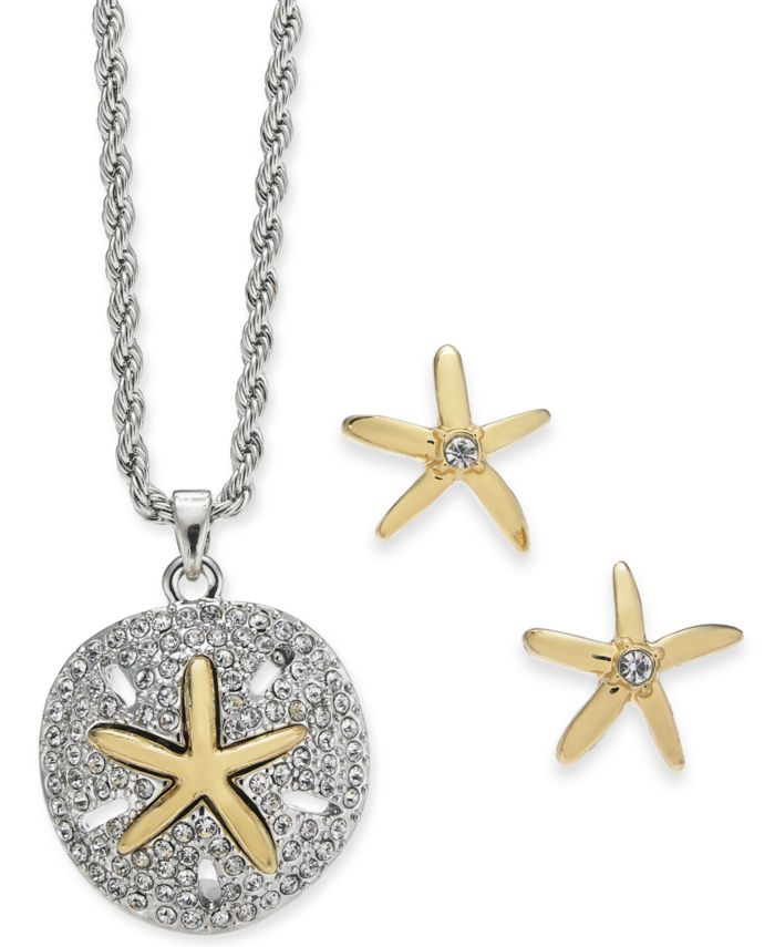 Charter Club Two-Tone Sand Dollar & Starfish Pendant Necklace & Stud Earring Set, Created for Macy's & Reviews - Fashion Jewelry - Jewelry & Watches - Macy's