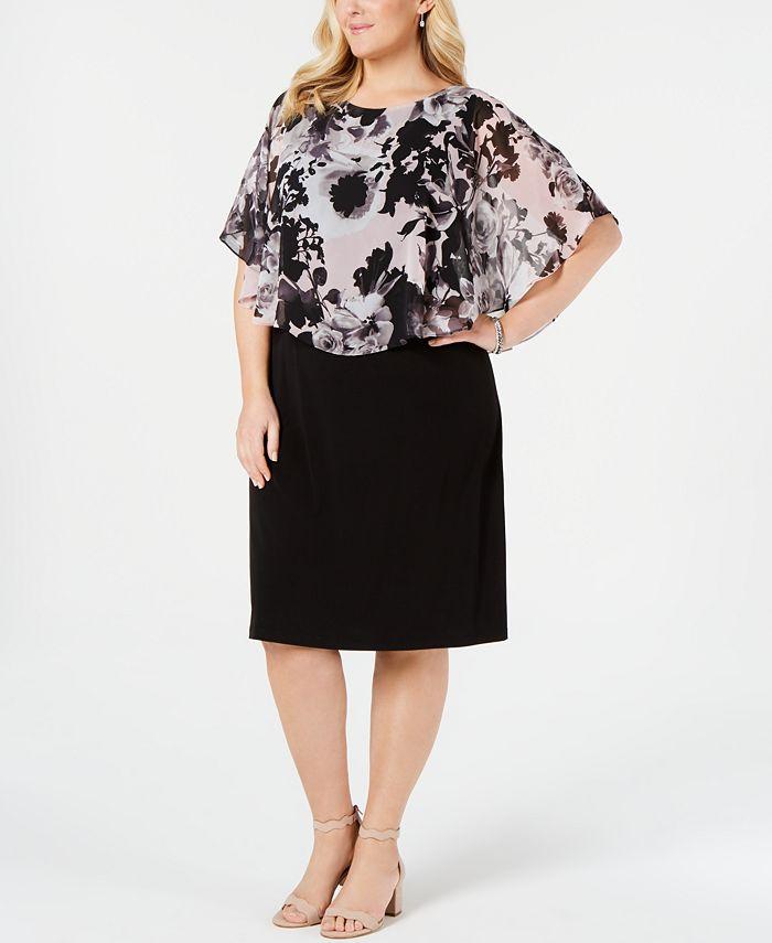 Connected - Plus Size Chiffon-Popover Sheath Dress