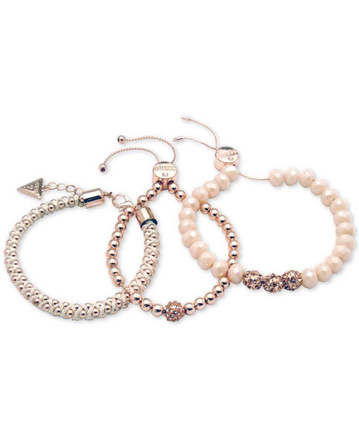 GUESS Rose Gold-Tone 3-Pc. Set Pavé Bead & Nylon Cord Bracelets  & Reviews - Bracelets - Jewelry & Watches - Macy's