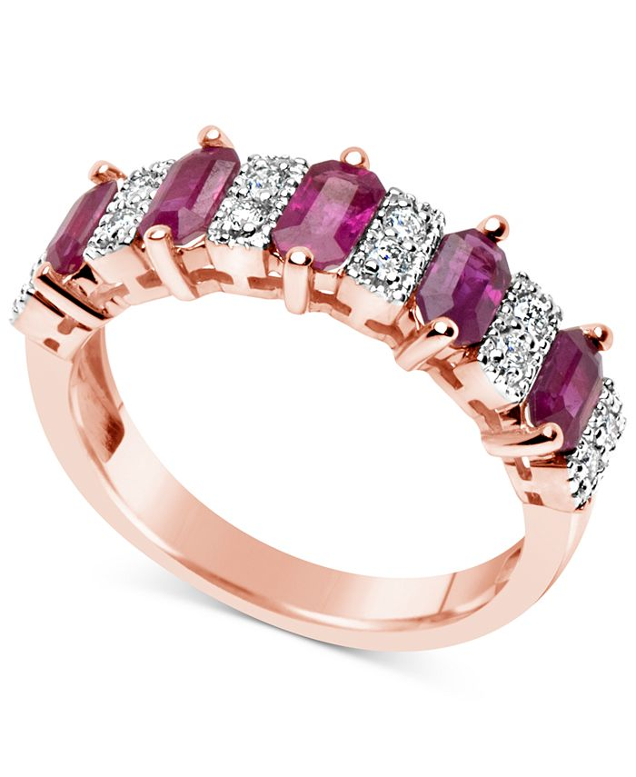 Macy's - Certified Ruby (3-1/6 ct. t.w.) and Diamond (1/6 ct. t.w.) Ring in 14k Rose Gold