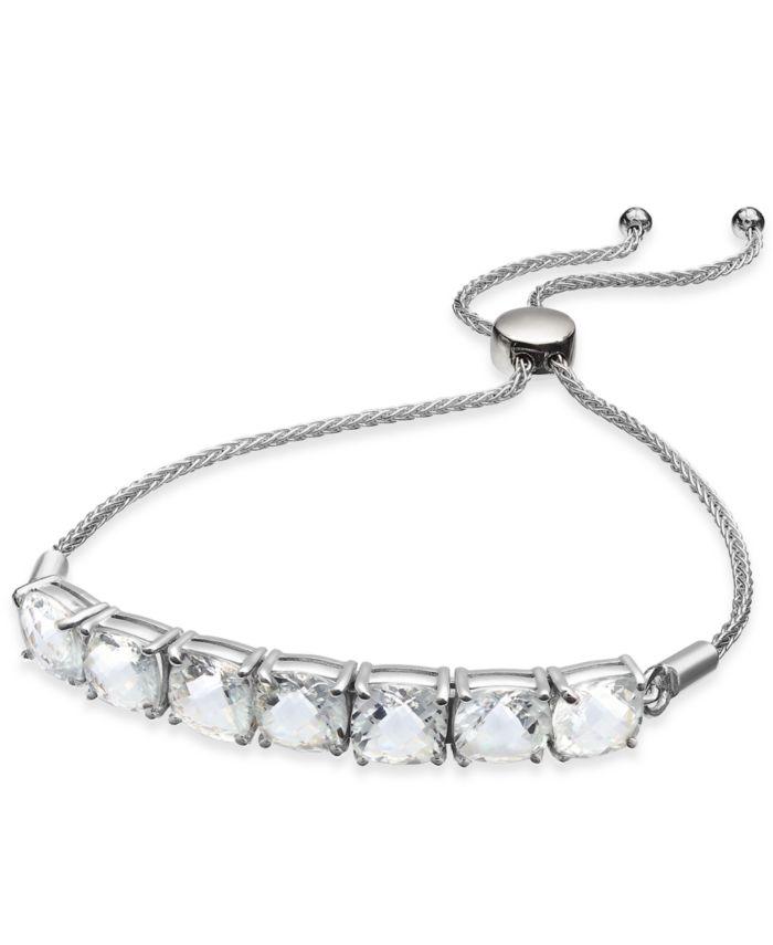 Macy's Aquamarine (9-3/8 ct. t.w.) Bolo Bracelet in Sterling Silver & Reviews - Bracelets - Jewelry & Watches - Macy's