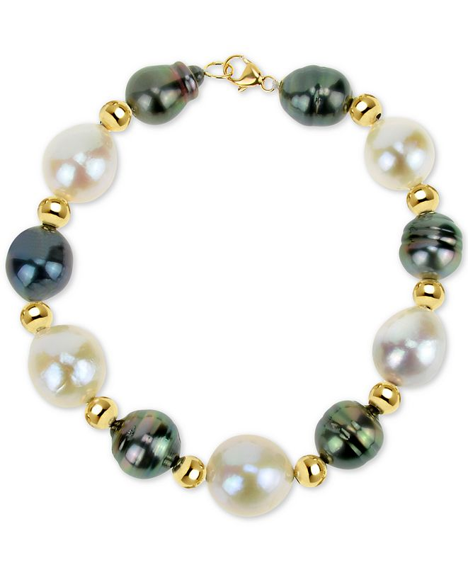 Macy's Cultured Baroque Freshwater Pearl (12-13mm) and Black Tahitian Pearl (8-10mm) Bracelet in 14k Gold