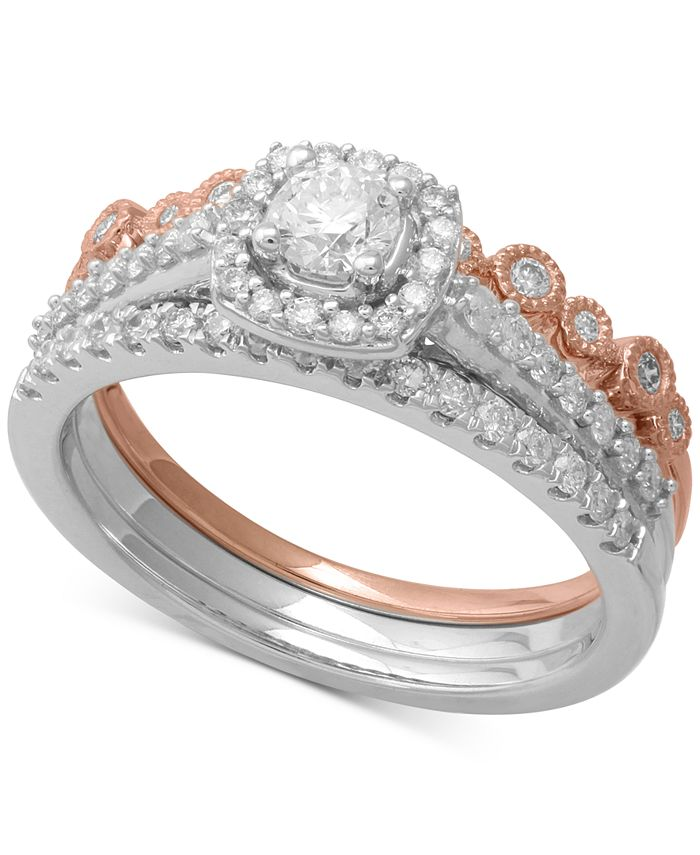 Macy's - 3-Pc. Two-Tone Diamond Bridal Ring Set (3/4 ct. t.w.) in 14k White & Rose Gold