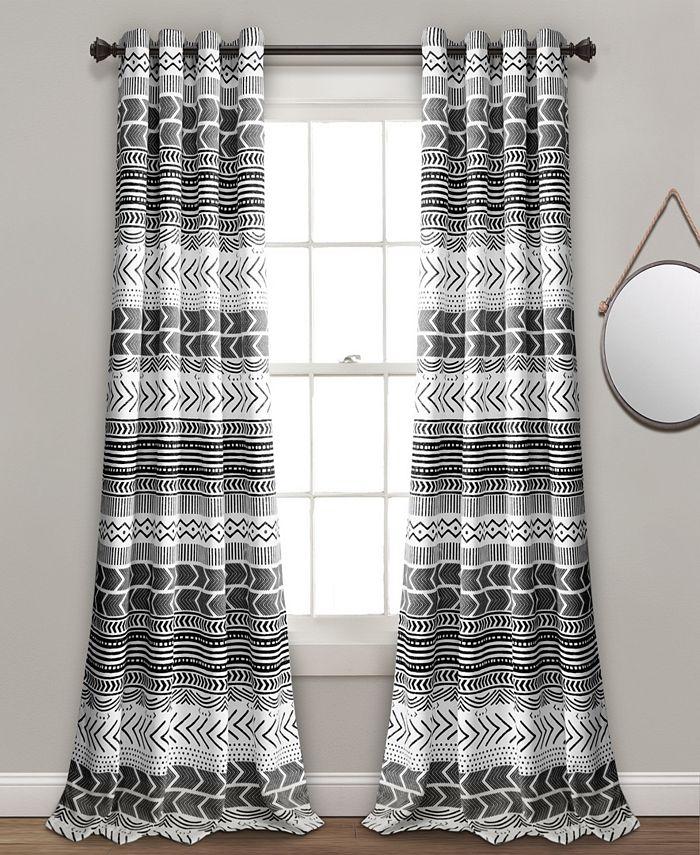 Lush Décor - Hygge Geo Room Darkening Window Curtain Panels Navy/White 52X84 Set