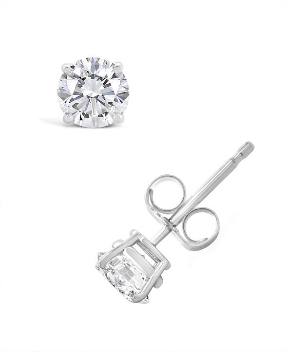 Macy's Certified Round Diamond Stud Earrings (3/4 ct. t.w.) in 14k White Gold or Yellow Gold