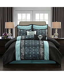 Arabesque 8-Piece Comforter Set, Black/Blue, King