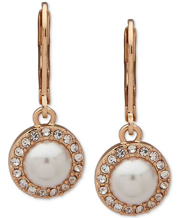 Anne Klein - Gold-Tone Pavé & Imitation Pearl Halo Drop Earrings