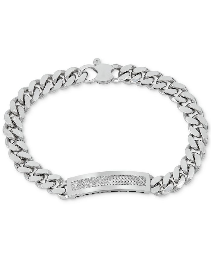 Macy's - Men's Diamond (1/2 ct. t.w.) ID Bracelet in Sterling Silver