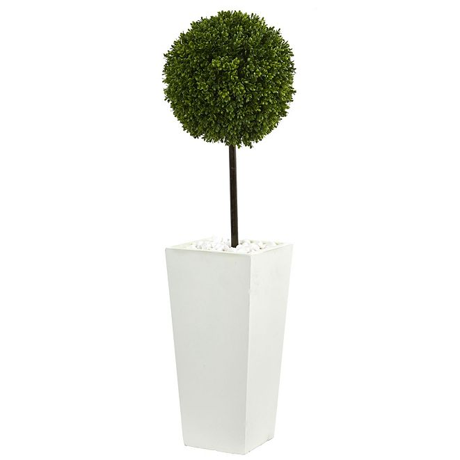 Nearly Natural 3.5' Boxwood Ball Topiary Artificial Tree in White Tower Planter UV Resistant