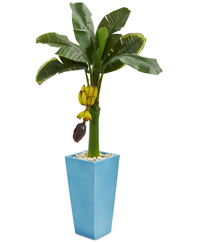 Nearly Natural 4' Banana Artificial Tree in Turquoise Tower Vase