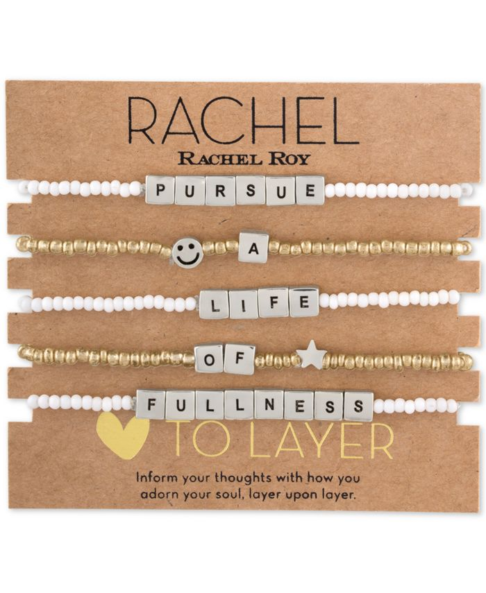 RACHEL Rachel Roy Two-Tone 5-Pc. Set Message Stretch Bracelets & Reviews - Bracelets - Jewelry & Watches - Macy's