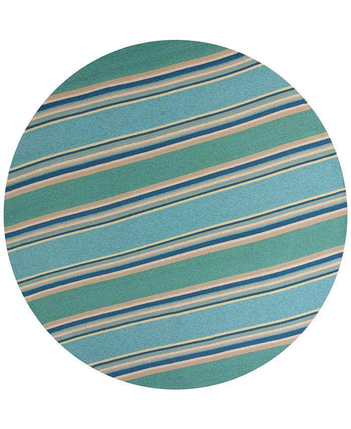 """Kas - Harbor Stripes 4230 Ocean 7'6"""" Indoor/Outdoor Round Area Rug"""