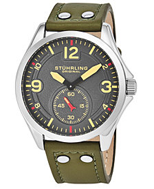 Stuhrling Original Men's Quartz, Silver Case, Grey Dial Watch on A Light Brown Genuine Leather Strap With White Contrast Stitching