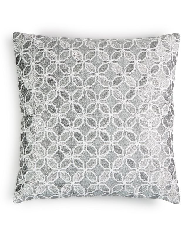 """Charter Club Embroidered Metal Geo 16"""" x 16"""" Decorative Pillow, Created for Macy's"""