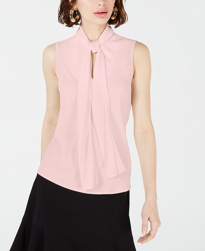 Bar III - Crepe Bow-Neck Blouse