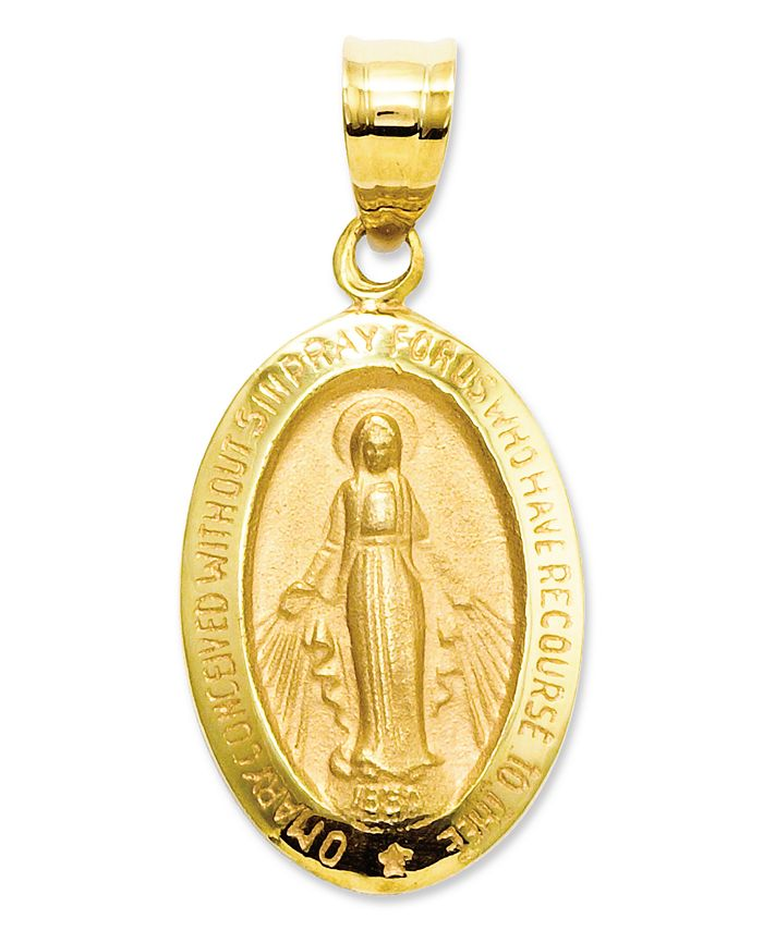 Macy's - 14k Gold Charm, Miraculous Medal Charm