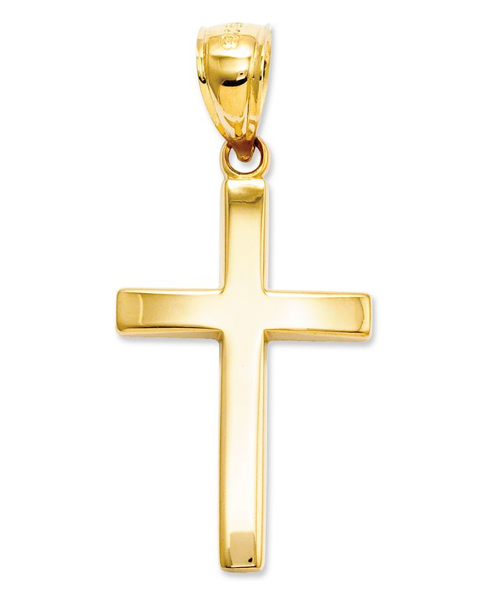 Macy's - 14k Gold Charm, Polished Cross Charm