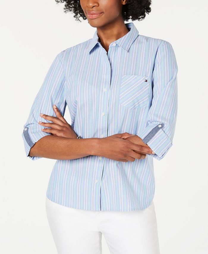 Tommy Hilfiger - Cotton Striped Roll-Tab Blouse