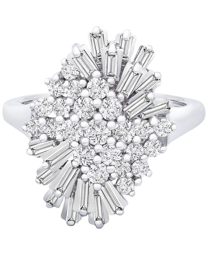 Wrapped in Love - Diamond (1 ct. t.w.) Starburst Statement Ring in 14k White Gold, Created for Macy's