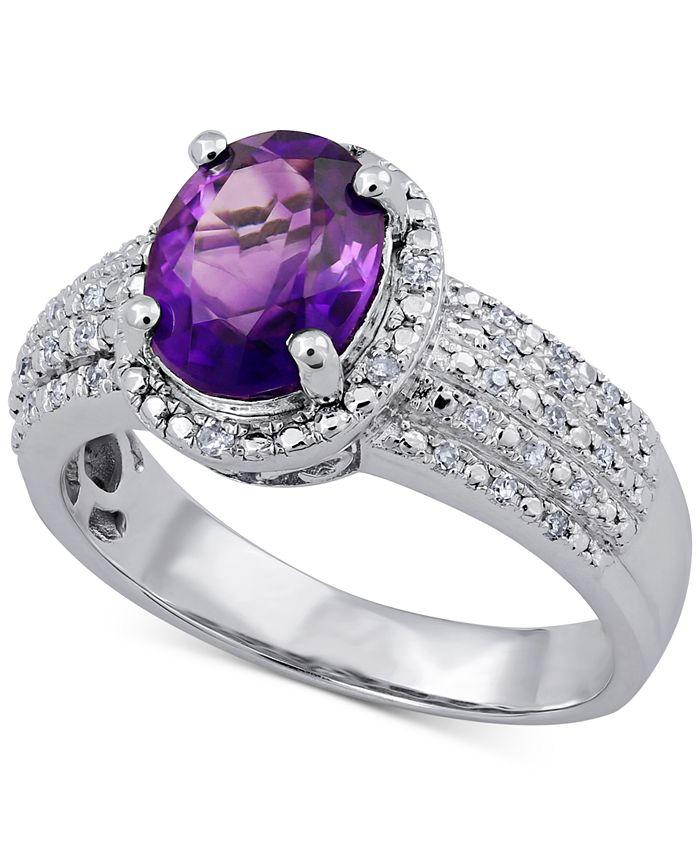 Macy's - Amethyst (1-1/2 ct. t.w.) & Diamond (1/8 ct. t.w.) Ring in Sterling Silver